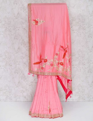 Pretty pink semi silk festival saree