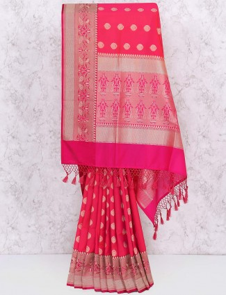 Pretty pink semi silk simple saree