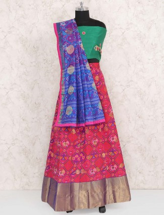 Pretty pink semi stitched cotton silk lehenga choli