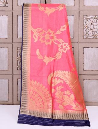 Pretty pink silk festive saree