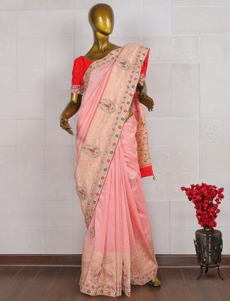 Pretty pink silk saree