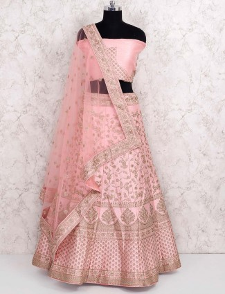 Pretty pink silk semi stitched wedding lehenga choli