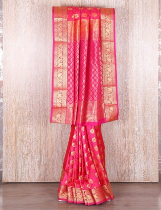 Pretty pink silk wedding wear saree