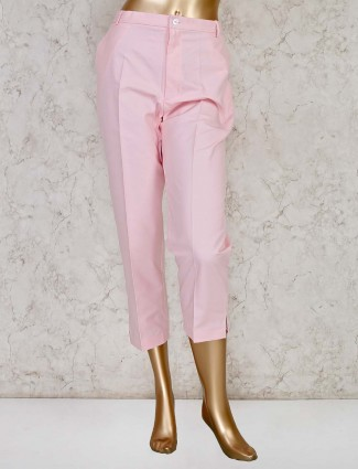 Pretty pink solid trouser in cotton