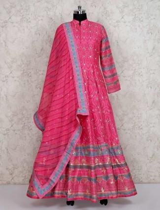 Pretty pink wedding anarkali salwar suit in cotton silk