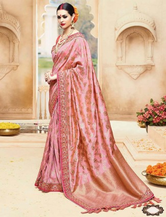 Pretty pink wedding silk saree