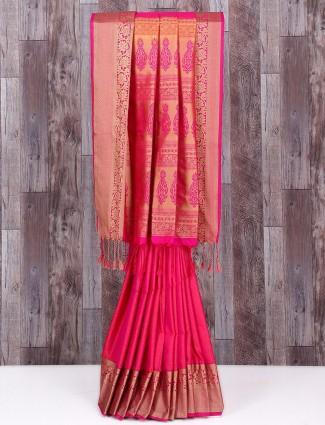 Pretty pink wedding wear silk saree