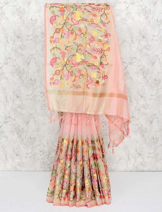 Pretty preach saree in cotton