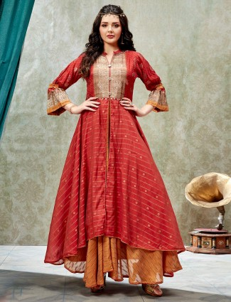 Pretty red cotton silk double layer style kurti