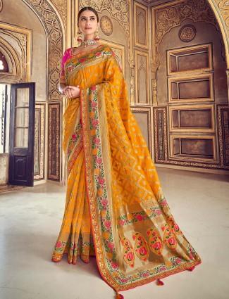 Pretty semi silk saree in yellow