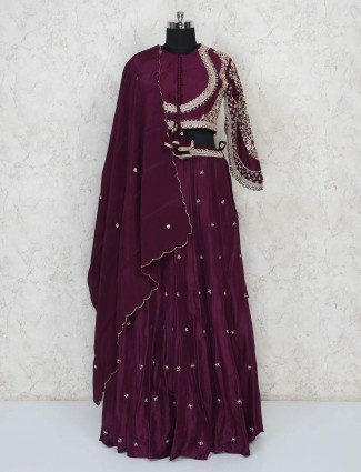 Pretty wedding wear purple lehenga in cotton silk
