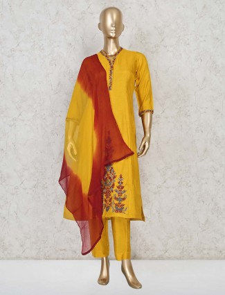 Pretty yellow cotton fabric punjabi pant suit