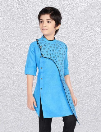 Printed aqua color cotton short kurta