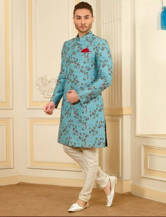 Printed aqua color terry rayon sherwani