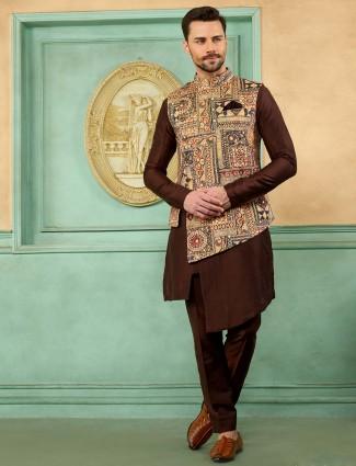 Printed beige and brown hue terry rayon waistcoat set