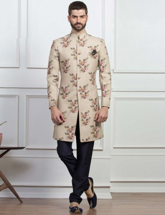 Printed beige color indo western