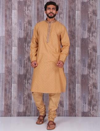 Printed beige cotton kurta suit
