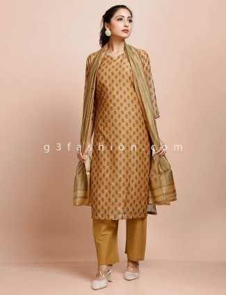 Printed beige cotton pant suit with dupatta