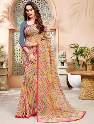 Printed beige cotton saree for festive