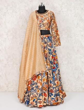 Printed beige lehenga choli in silk