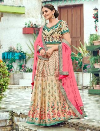 Printed beige semi stitched wedding silk lehenga choli