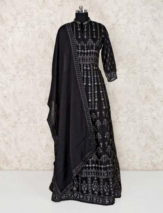 Printed black cotton floor length anarkali suit