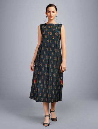 Printed black cotton kurti design