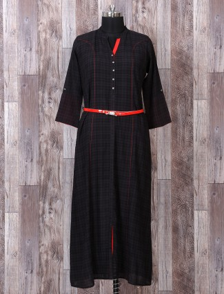 Printed black cotton kurti for casual
