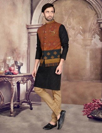 Printed black cotton silk party wear waistcoat set