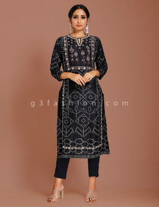 Printed black cotton silk punjabi suit
