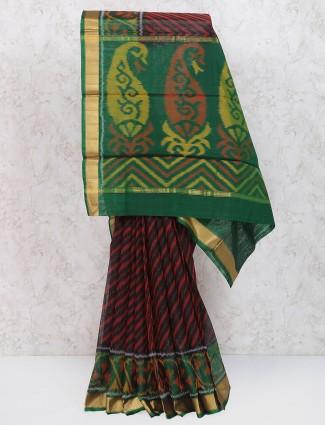 Printed black festive wear saree