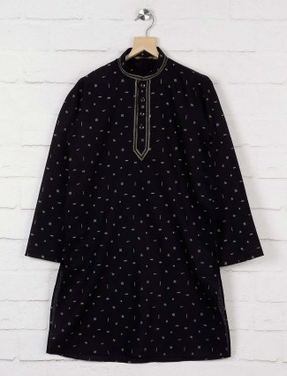 Printed black hued cotto kurta suit