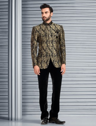 Printed Black terry rayon jodhpuri suit