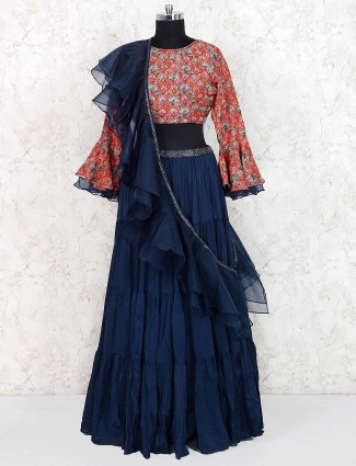 Printed blue and peach hue lehenga choli in cotton silk