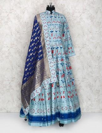 Printed blue color cotton silk floor length anarkali suit