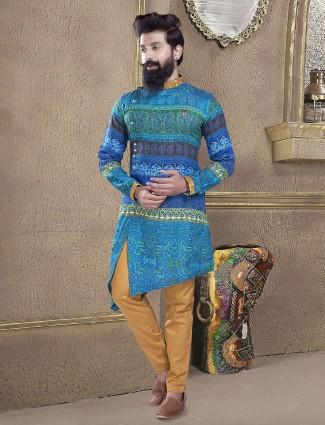 Printed blue color kurta suit