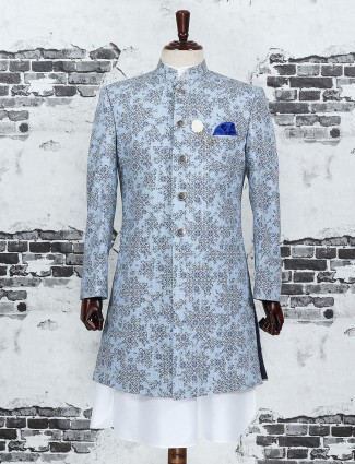 Printed blue color silk indo western