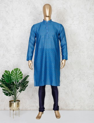 Printed blue cotton mens kurta suit fesrive wear