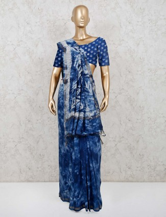 Printed blue cotton saree for pretty womens