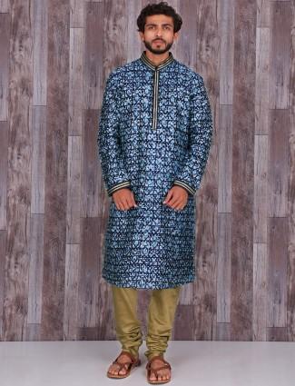 Printed blue cotton silk festive wear kurta suit