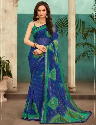 Printed blue georgette saree for festivals