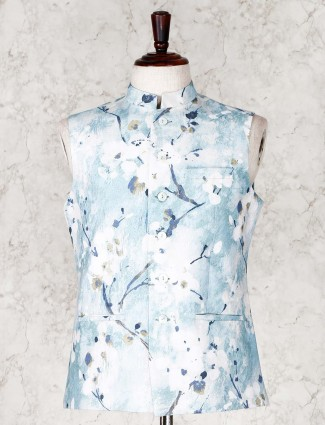 Printed blue mens waistcoat in cotton