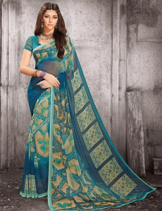Printed blue royal georgette saree