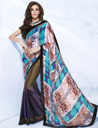 Printed blue satin festive wear half and half saree