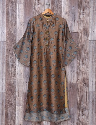 Printed brown color silk kurti