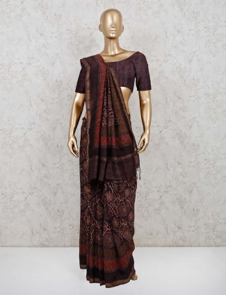 Printed brown cotton festive saree