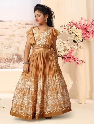 Printed brown cotton silk party wear lehenga choli