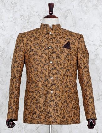 Printed brown hue terry rayon blazer