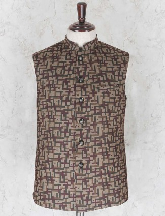 Printed brown hue terry rayon waistcoat