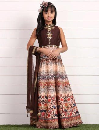 Printed brown raw silk party wear anarkali suit